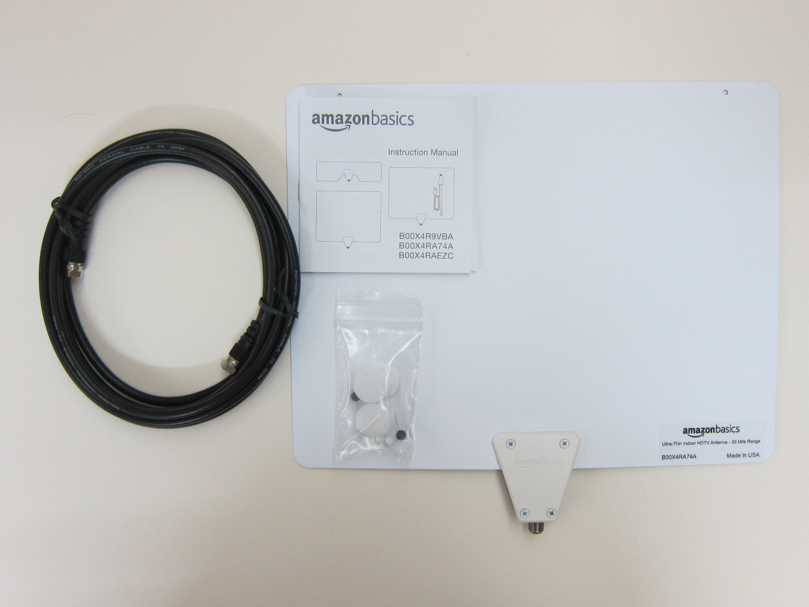 samsung tv antenna adapter. amazonbasics ultra thin indoor tv antenna - box contents samsung tv adapter