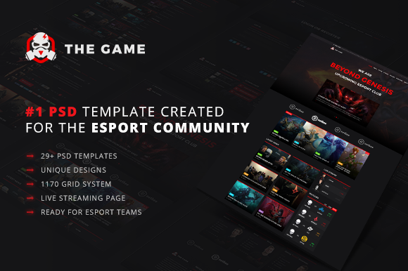 The Game – eSport PSD Gaming Templat