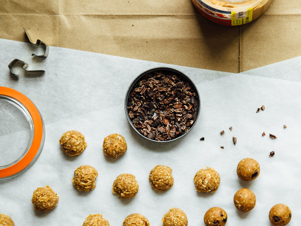 Peanut butter + coconut protein bites