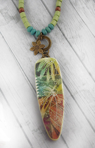 Yellow Turquoise Transfer Dagger Pendant | by WiredOrchid