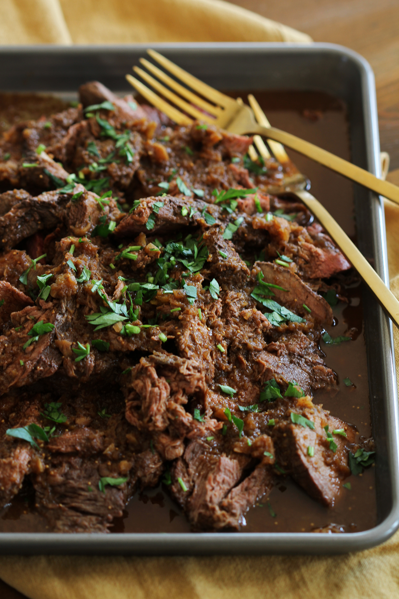 Mocha Rubbed Slow Cooker Shredded Beef | girlversusdough.com @girlversusdough