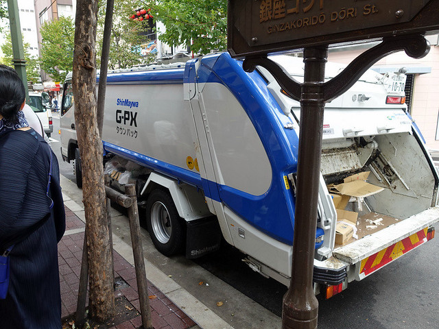compacting garbage truck in tTokyo
