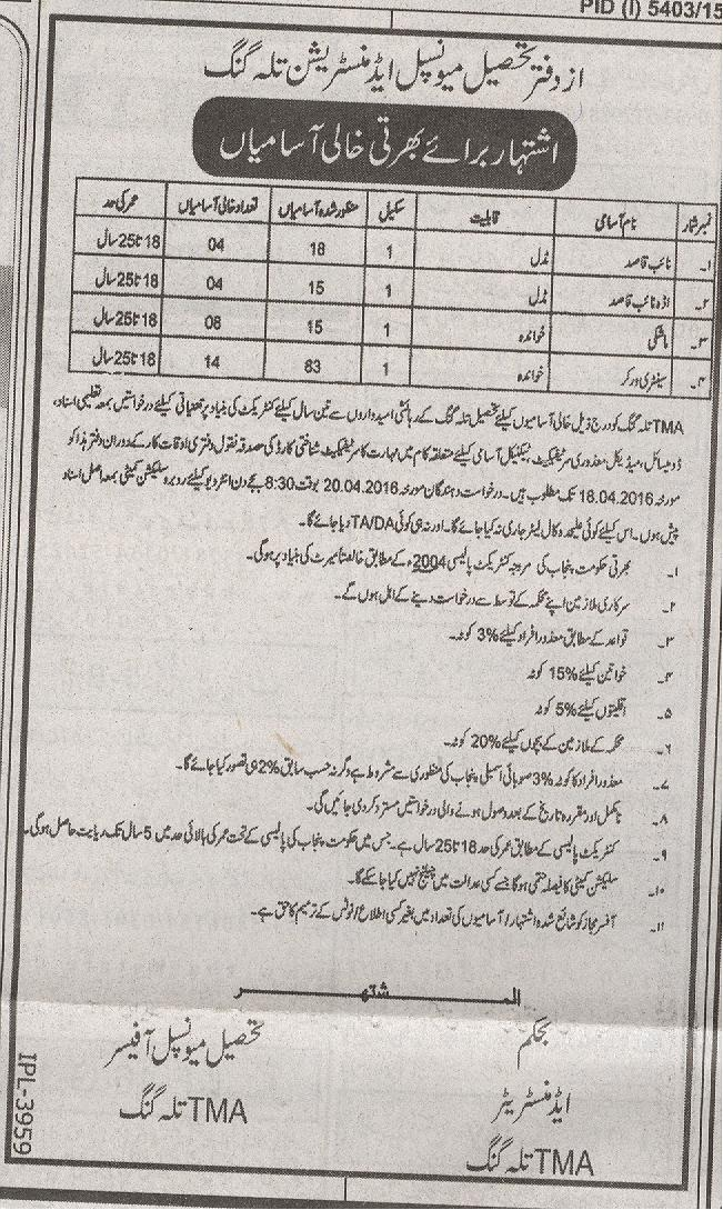 Municipal Administration Jobs 2016