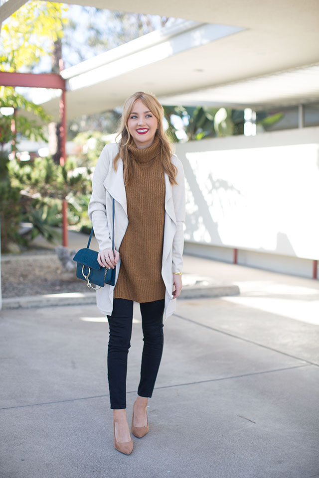 camel-and-black, camel-and-black-color-combo, hannah-hagler, champagne-lifestyle-blog, fashion, fashion-blogger, affordable-fashion, budget-friendly-fashion-blogs, affordable-fashion, diophy-handbags, chloe-drew-bag, sweater-vest, turtleneck-sweater-vest, waterfall-drape-jacket, asos, affordable-black-denim, forever-21-nude-pumps, pointy-toe-nude-pumps, maybelline-matte-rich-ruby, tory-burch-logo-earrings, middle-part-bangs