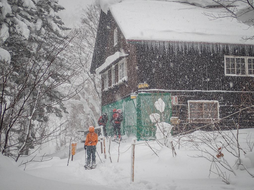 Ginreiso hut in winter near Skinning up Mt. Haruka (Hokkaido, Japan)
