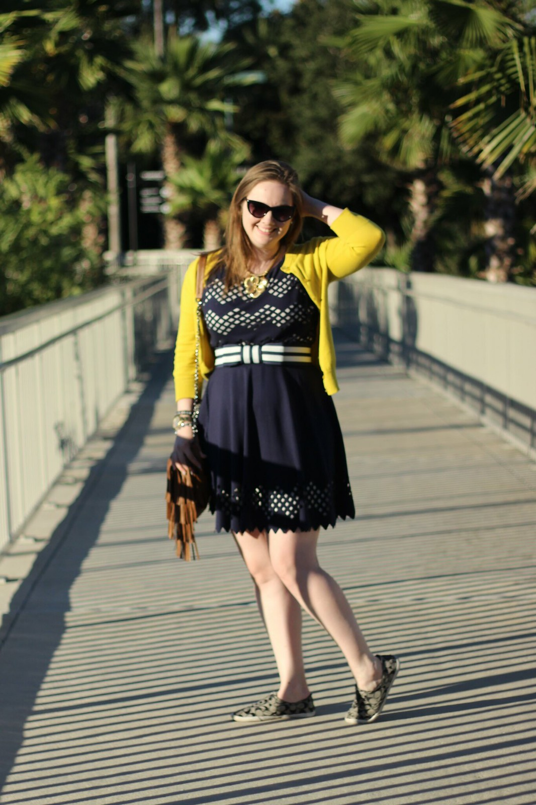 navy dress yellow cardigan