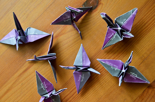 Completed Origami Save the Date Cranes!