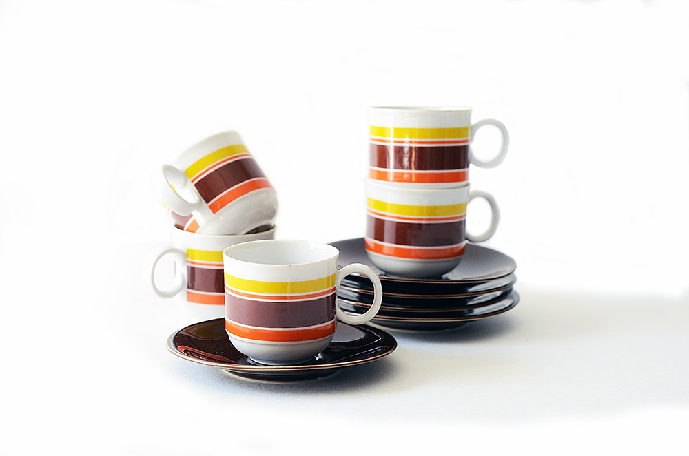 Five Vintage Espresso Cups and Saucers