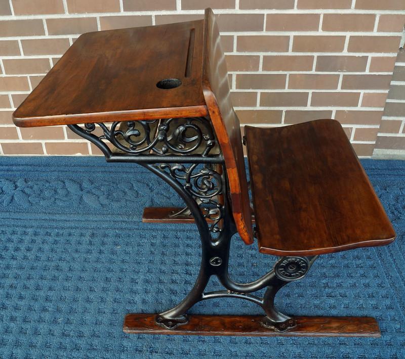 RD10379 Antique School Desk American SF Company Buffalo NY #4 Desk Cast  Iron & Wood - SOLD - Antique School Desk American SF Company Buffalo NY #4 Desk