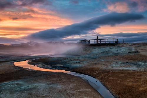 sunset sky cloud clouds landscape iceland outdoor steam e hotspring geothermal icelandic fumarole hverir