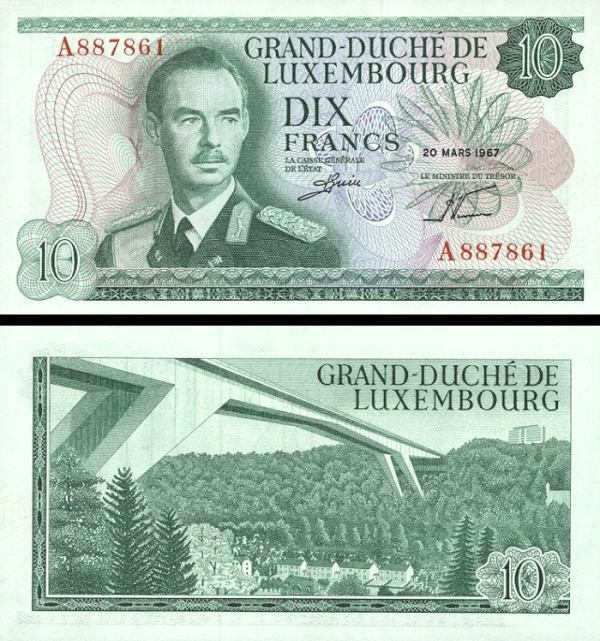 Luxembourg p53a: 10 Francs from 1967