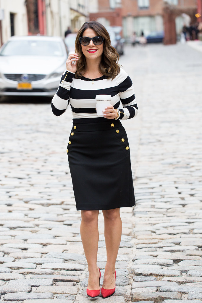 Black and white stripes_Ann Taylor Skirt_2