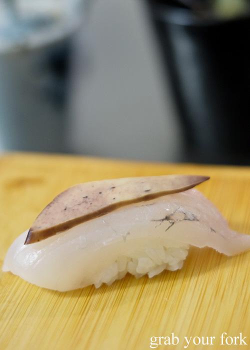 John Dory sushi with its liver at Sashimi Shinsengumi, Crows Nest
