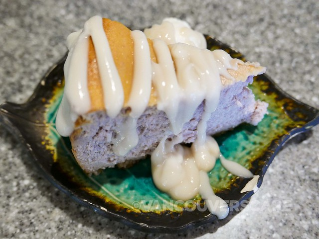 Sushi Rock Purple Sweet Potato Cheesecake with macadamia nut crust and coconut maple glaze