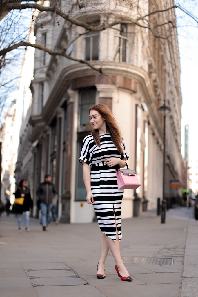 Asos black and white stripe work dress (2)
