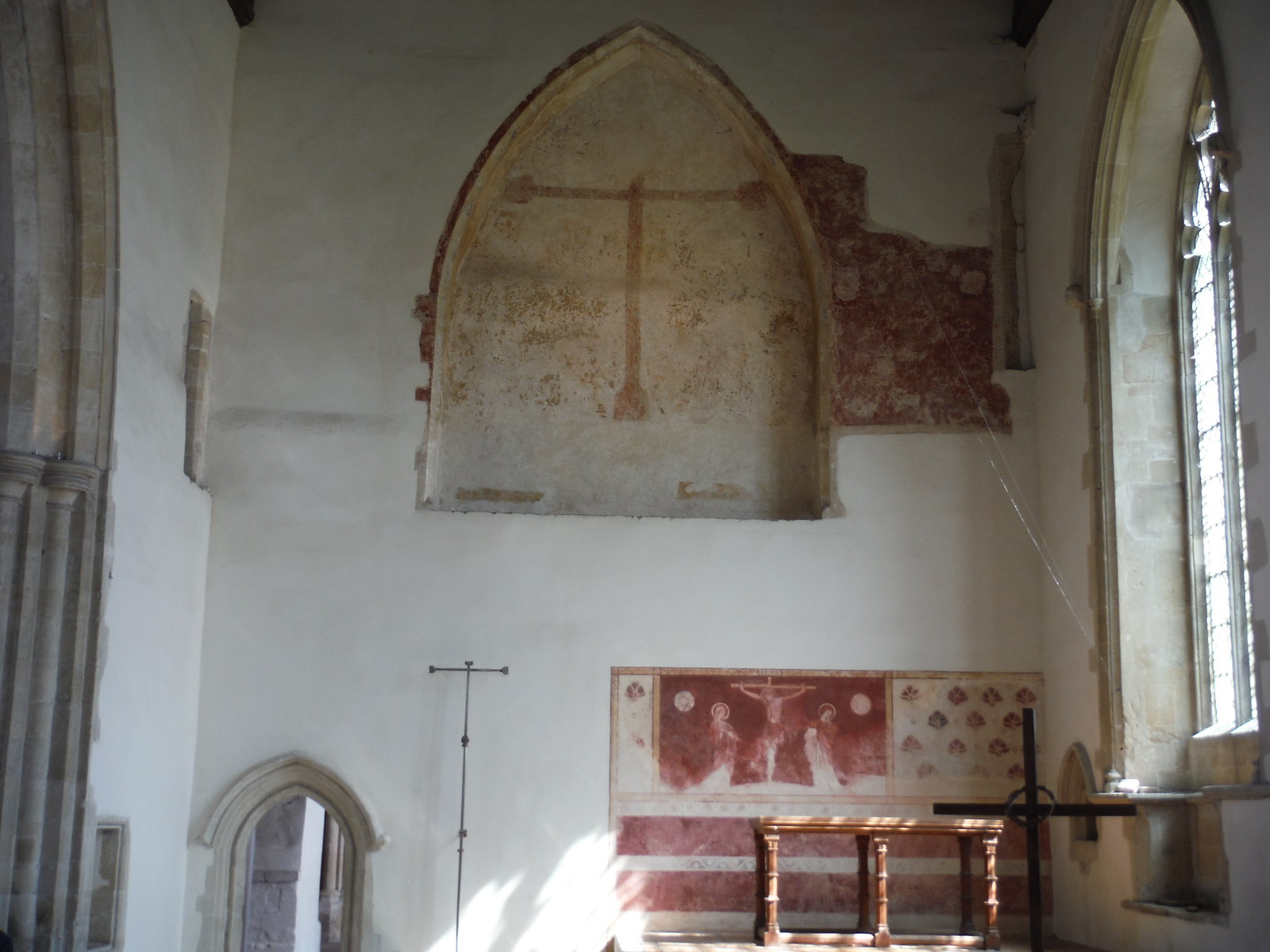 Much faded Crucifixion Scene in Arched Recess, Dorchester Abbey SWC Walk 44 - Didcot Circular