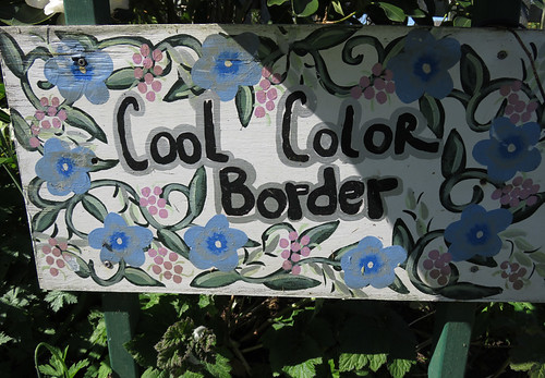 A 'Cool Color Border' sign at the Washington State University Discovery Gardens near Mt. Vernon, Washington