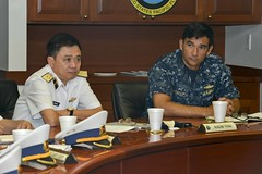 Rear Adm. Patrick A. Piercey, U.S. Pacific Fleet (PACFLT) director of maritime operations, right, and Rear Adm. Do Minh Thai, deputy chief of staff of the Vietnam People's Navy, attend bilateral staff talks at PACFLT headquarters. (U.S. Navy/MC2 Tamara Vaughn)