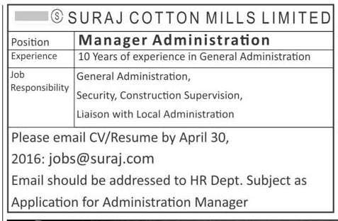 Suraj Cotton Mills Manager Administration Required
