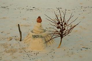 Creative sandcastle on the beach, Jambiani
