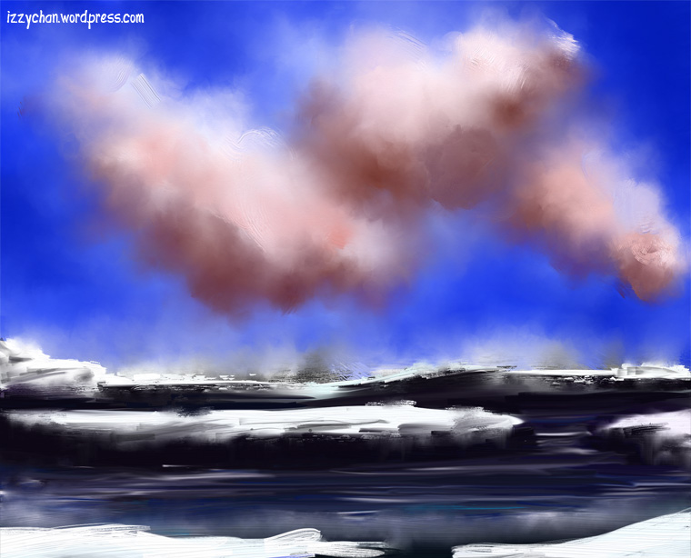 artrage ice floes ocean water sky clouds