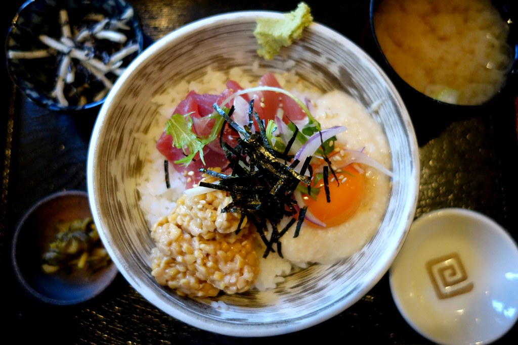 Natto, Maguro and Raw Egg Topped Rice, Kamakura, Japan
