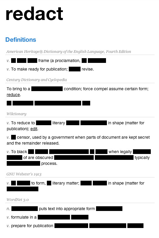 Redacted Definitions, in Protest of SOPA