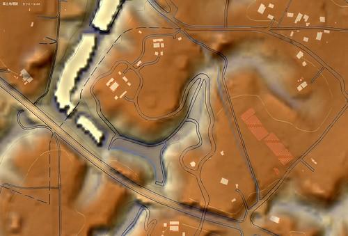 龍角寺切通し 地図比較