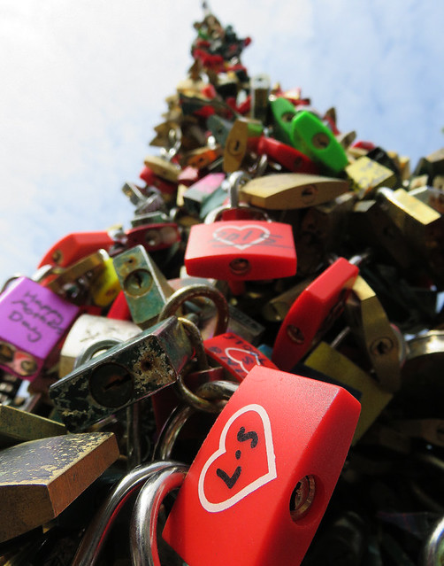 Locks on a bridge in Amsterdam, Holland