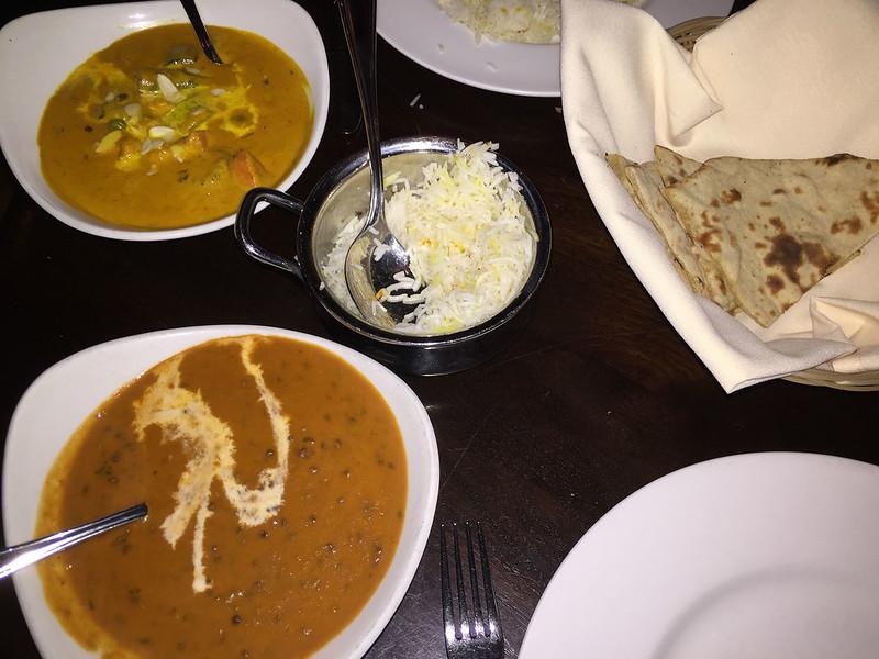 Vegetable korma and lentil dhal