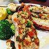 Wood grilled seafood dinner.