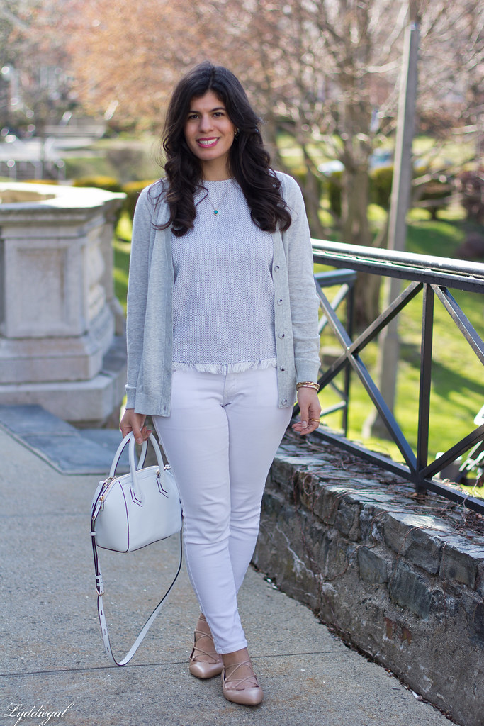 white jeans, grey cardigan, nude lace up flats-2.jpg