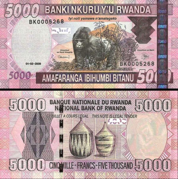 5000 frankov Rwanda 2009, P37 UNC