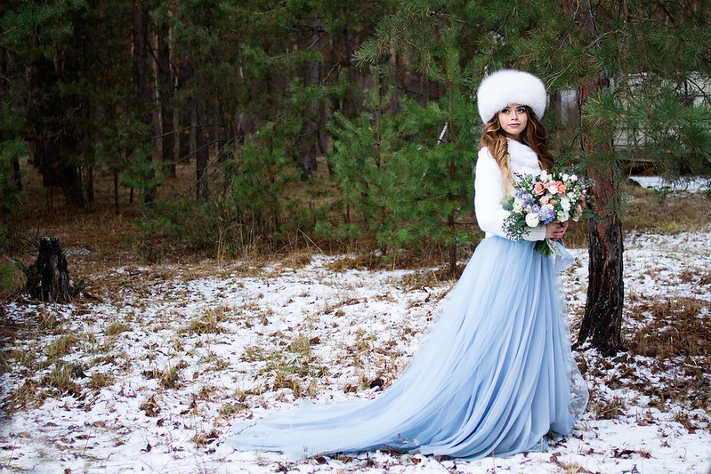 "A blue tulle wedding gown for ""something blue"" winter wedding 