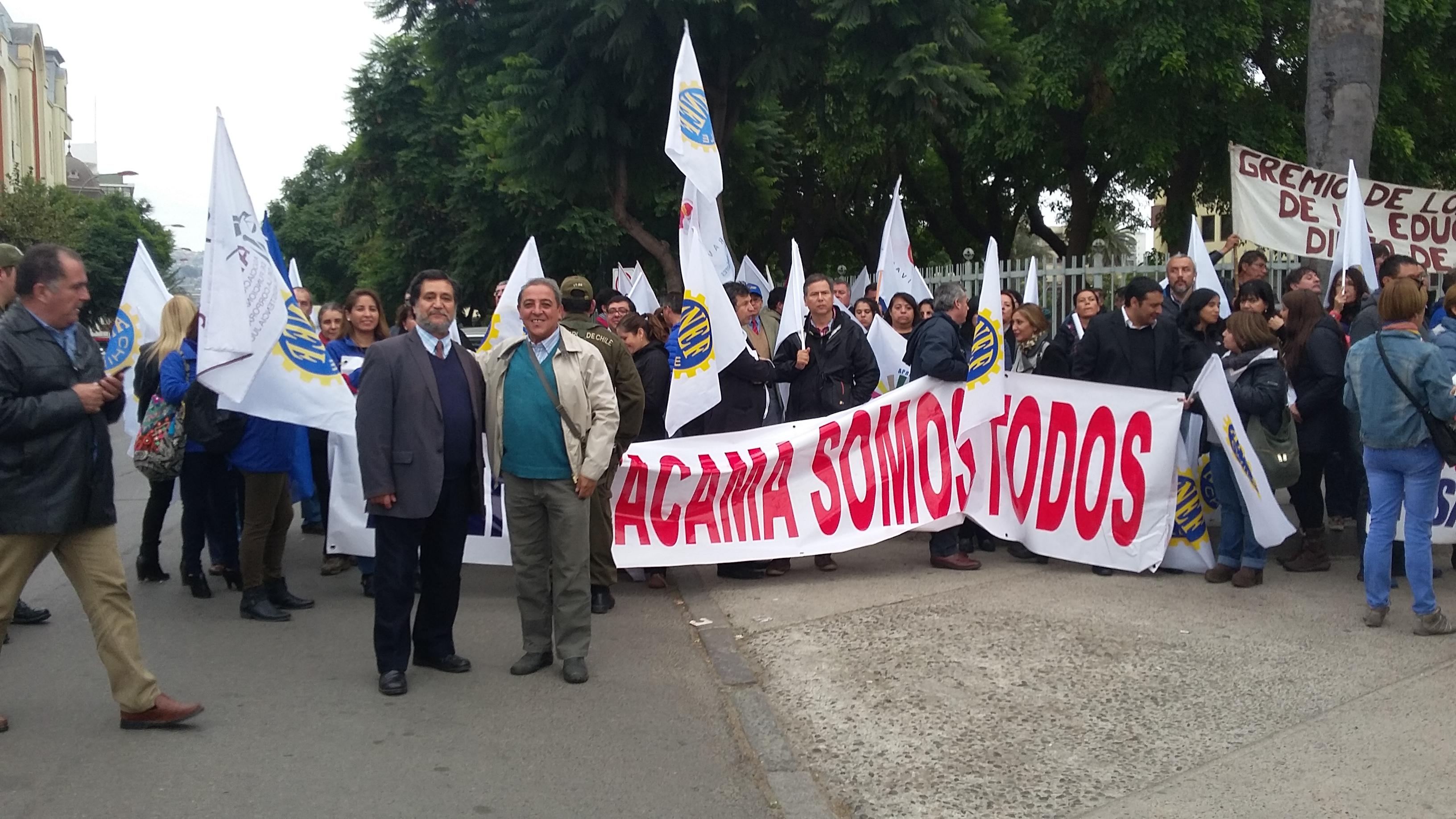 Dirigentes AFSAG Nacional hoy en el Congreso de Valparaíso en apoyo a Atacama - 12 Abril 2016