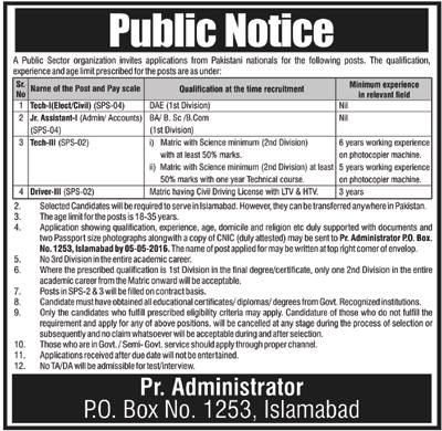 P.O Box No 1253 Jobs 2016
