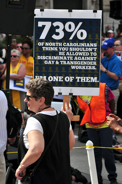 HB2 protesters attend the Moral Monday rally in Raleigh on April 25, 2016
