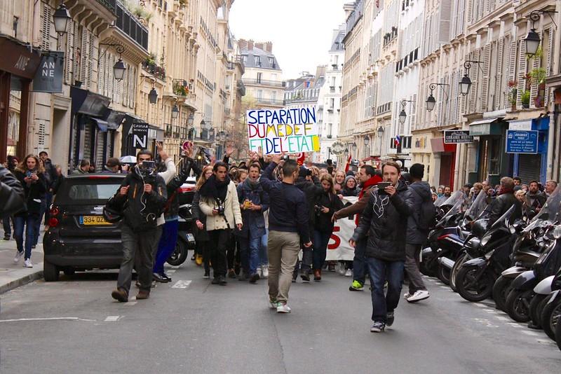Manifestation des intermittents du spectacle au Théâtre de l'Odéon