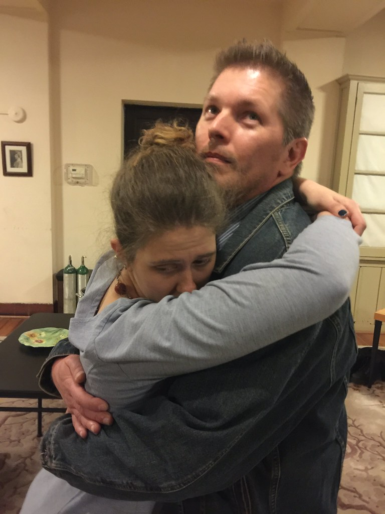 <p>Moriah Whiteman (Margherita) and Mitch Irzniski (Luigi)<br /> they are so happy to see each other...no better way to escape the difficulty of life then run into each other</p>