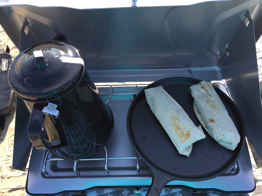 Camping breakfast foods - breakfast burritos and hot chocolate