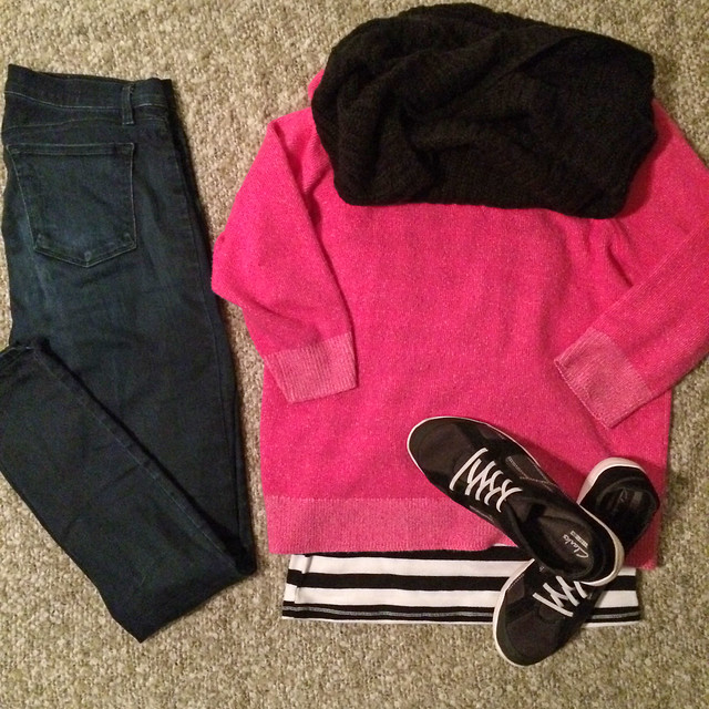 sweater + striped tank + skinny jeans + sneakers