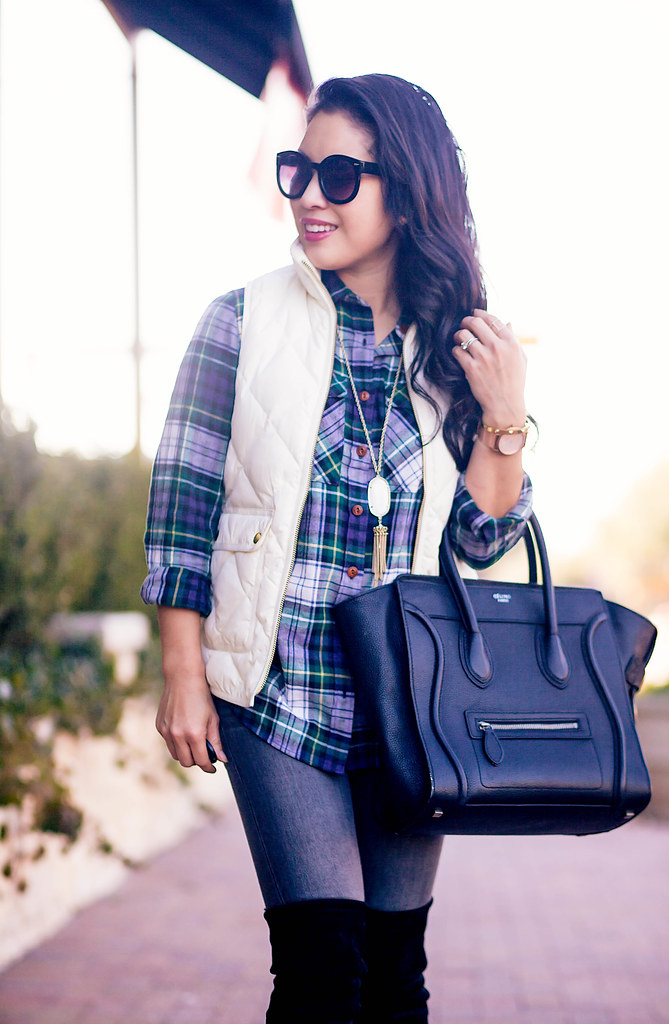 cute & little blog | excursion quilted vest, ridge plaid shirt, gray jeans, stuart weitzman black highland over the knee otk boots, celine luggage tote | winter outfit