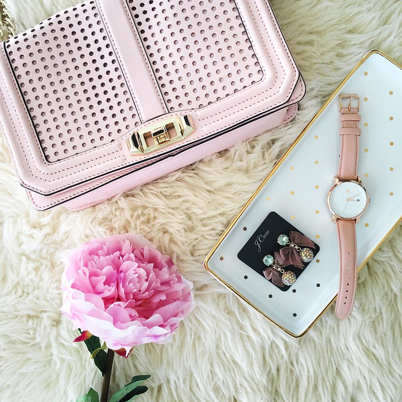cute & little blog | petite fashion | pink blush flatlay | minkoff love crossbody, jcrew bow earrings, mvmt rose gold peach watch, polka dot tray