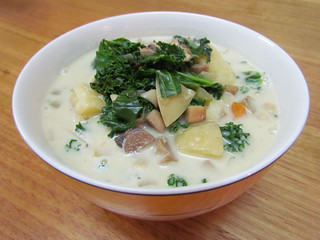 Creamy White Bean, Potato, and Kale Soup with Mushroom 'Sausage'