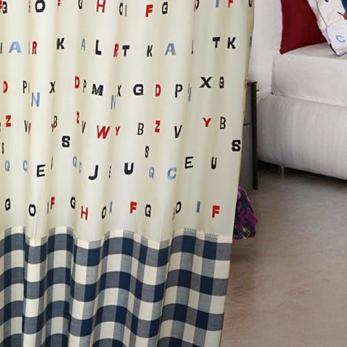 藍色字母天地 童趣 學習 半遮光無接縫窗簾布 DA2790007