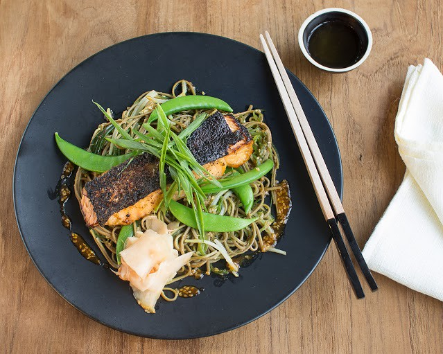Healthy Food in Singapore: Grain Miso Salmon On Soy And Ginger Soba Salad