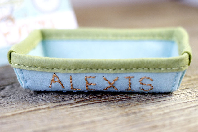 Small Stitched Alphabet Along Side of Stitched Rectangle Tray by Papertrey Ink