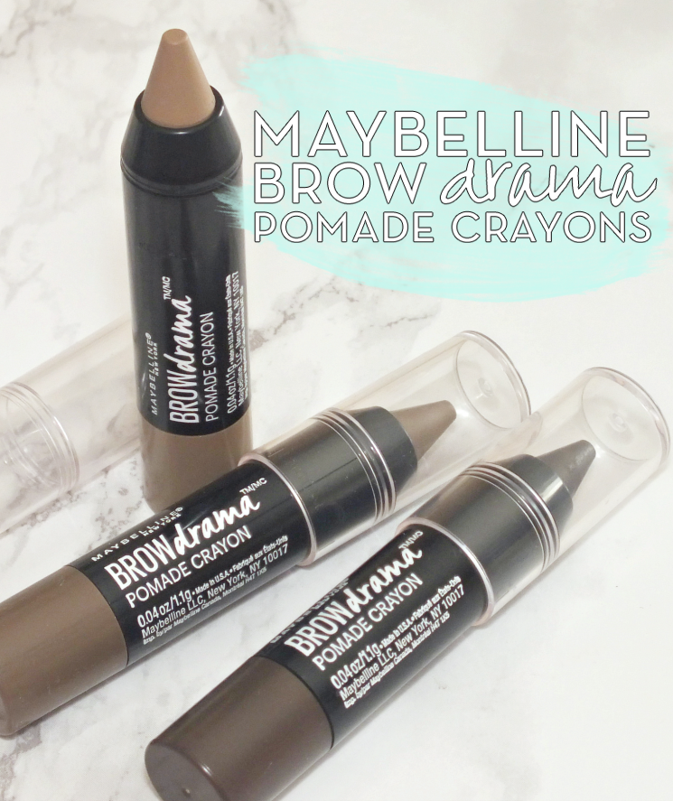 maybelline brow drama pomade crayons blonde, soft brown, and deep brown (1)