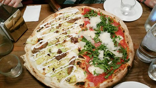 Homeslice Pizza (Goat Shoulder, Savoy Cabbage & Sumac Yoghurt / Salami, Rocket & Parmesan)