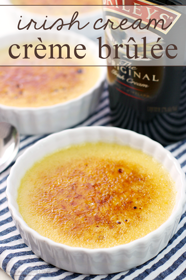 Irish Cream Crème Brûlée in white bowls with a bottle of Baileys.